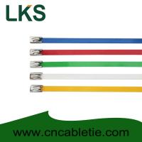 China 4.6*350mm 201,304,316 grade epoxy polyester coated Ball-lock ss cable ties wholesale