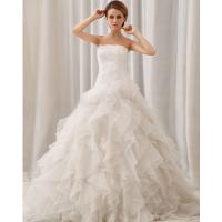 China Exquisite chic layered wedding gowns white Strapless Ladies Wedding Dresses wholesale