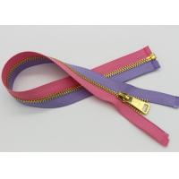 China Y Type Teeth Heavy Duty Brass Zippers , 30 Inch Gold Metal Zipper Purple / Pink Tape wholesale