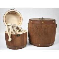 China Brown Color Hand Made Wooden Storage Barrels Pine Wood Tea Boxes With Lid wholesale