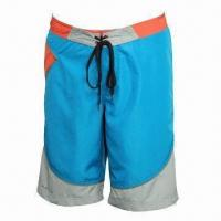 Boardshorts, Solid and Print Fabric Together, 4-eyelet on the Waist, Highly Elastic Waist Drawstring