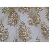 China Embroidered Tree Gold Sequin Lace Fabric By The Yard For Wedding Bridal Evening Dress wholesale