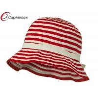 China Red Sewn Braid Woman's Bucket Hat with Stripe / Hand Wash Only wholesale