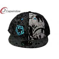 China Black Cotton Snapback Baseball Caps Printing WITH reinforced sweatband wholesale