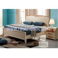 China Adults Low Headboard Light Wood Queen Beds , Full Size Wooden Bed Frame With Headboard wholesale