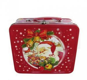 China LOGO Printing Rectangle Metal Tin Lunch Box With Christmas Artwork wholesale