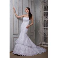 China New Designer Strapless Sweep Train Romantic Lace Wedding Gowns Gown Beads wholesale