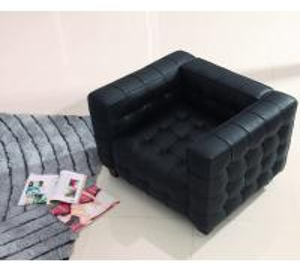 China Designer Sofa Living Room Kubus Black Sofa Furniture Set Luxury Leather Sofa wholesale