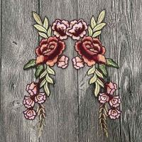 China Colourful Floral Embroidered Applique Patches , Polyester Sew On Flower Appliques wholesale