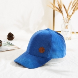 China Custom Blue 58cm 6 Panel Baseball Caps Velcro Back Closure wholesale