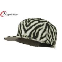 China Black Flat Bill Solid Zebra Stripe Snapback Baseball Caps with Cotton wholesale