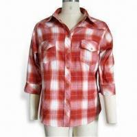 China Women's Plaid Shirt with Quarter Sleeves, Various Sizes, Styles and Colors, OEM Orders are Welcome wholesale
