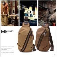 Buy cheap Brown Cotton Canvas Single Strap Backpack For School Boys Outdoor Activities Use from wholesalers
