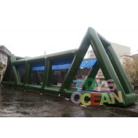 China 25.9L * 4.57W * 5.5H Green Inflatable Zip Line Air Tight Slide 0.55mm PVC wholesale