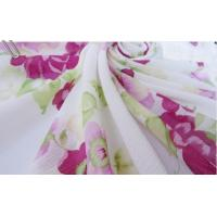 China Large Flowers White Wrinkled Chiffon Fabric wholesale