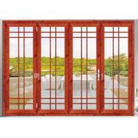 China Internal Aluminum Folding Glass Door Wood Grain Soundproof Accordion Door wholesale