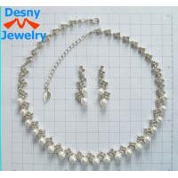 China Rhinestone and Gemstone Jewelry Crystal Chain Necklace and Earring Set for Anniversary wholesale
