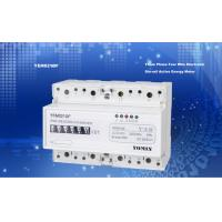 Small Volume Accuracy Class1.0 3 Phase Electricity Meter 35mm Din Rail With Counter 6 Display