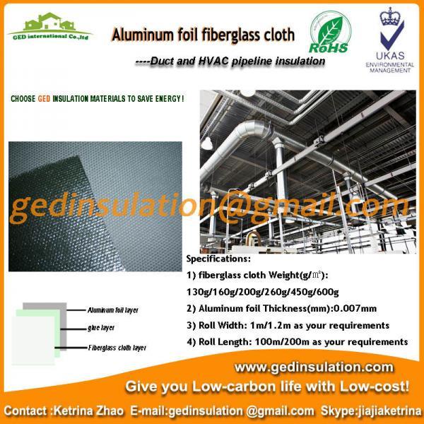 Quality Aluminium Foil coated fiberglass cloth thermal insulation fabric for sale