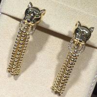 China Panther Shaped Cartier Diamond Earrings , 18K Yellow Gold Vintage Cartier Earrings wholesale
