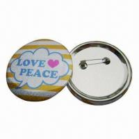 China Button Badges with CMYK Color Offset Printing and Safety Pin, Customized Designs are Accepted wholesale