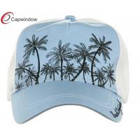 Quality Light  Blue Plaid Straw Trucker Mesh Hats Unconstructed with Cotton and Polyester for sale
