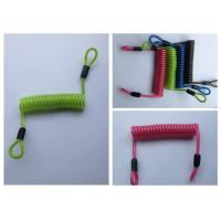 China Green / Red / Black PU Coated Coil Spring Lanyard Loops Both Sides wholesale
