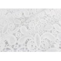 China Embroidery White Stretch Lace Fabric , Water Soluble Guipure Lace Fabric For Wedding Dresses wholesale