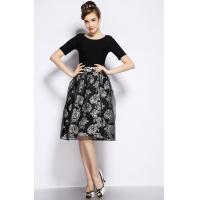China Thick Round Neck Womens Suit Dress , Organza Retro Printed Dresses wholesale