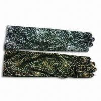 Buy cheap Halloween Gloves, Made of Net Cloth/100% Polyester, Available in Gold and Silver from wholesalers