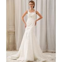 China Romantic dropped waist Long Train Wedding Dresses with lace covered back wholesale