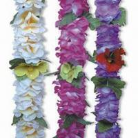 China 90cm Hawaiian Flower Leis, Available in Multicolor, Made of 100% Polyester wholesale