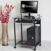 Tempered Glass And Wood Home Computer Table Black Color Movable Study