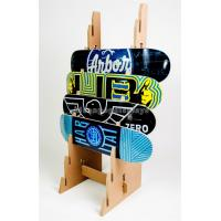 China Simple Solid Wooden Display Stand Custom Design 8 Pieces Skateboard Display Rack wholesale