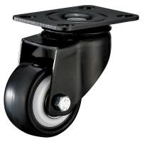 Black Bracket Office Furniture Casters , Small Plate Mount Caster Wheels for sale