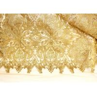 China Fashion Floral Pattern Gold Lurex Nylon Lace Fabric for Party / Banquet Dress wholesale
