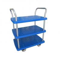 China Double LayersMobile Folding Platform Cart , Collapsible Rolling Cart With Wheels on sale