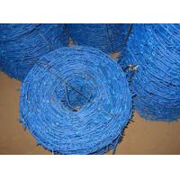 Wholesale Blue Color PVC Coated Barbed Wire Roll , Security Barbed Wire For Airport Fencing from china suppliers