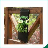 China 4 Pockets Black Color Recycled Vertical Wall Garden Planter / Balcony Plant Grow Bag wholesale