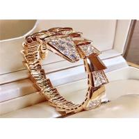 China Women 'S 18K Rose Gold Ladies Diamond Bracelet , Bulgari Serpenti Bangle BR855312 wholesale