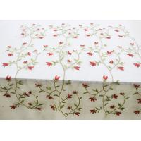 Quality Multi Colored Floral Embroidered Lace Fabrics , Embroidery Mesh Fabric For Party for sale