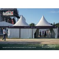 Buy cheap 5x5m Windproof Aluminum Pagoda Tent with White Plain PVC Sidewalls from wholesalers