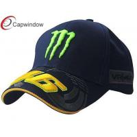 China Black Cool Racing Baseball Caps With Sandwich Peak , Fitted Baseball Caps For Men wholesale