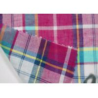 China Thin Tulle Cotton Yarn Dyed  Fabric Excellent Color Fastness With Grid Pattern wholesale
