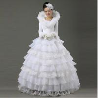 China Graceful Heart Shaped Lace layered Ladies Wedding Dresses with sweep train , Beads wholesale