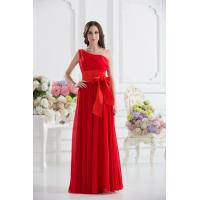 China Gorgeous One Shoulder Red Chiffon Floor Length Evening Dress Party Gowns Bow wholesale