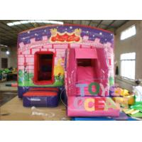 China Pink Princess Children Inflatable Bounce House / Jumping Castle With Slide wholesale