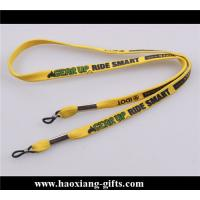 Quality custom heat transfer logo yellow polyester lanyard strap with plastic buckle for sale