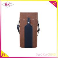 China Luxury single Pu leather wine bottle carrier or wine bottle holder with handle wholesale