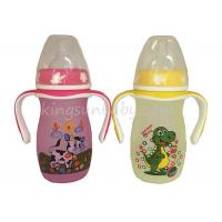 Professional Glass Baby Feeding  Bottle Wide Neck With Colorful Printing